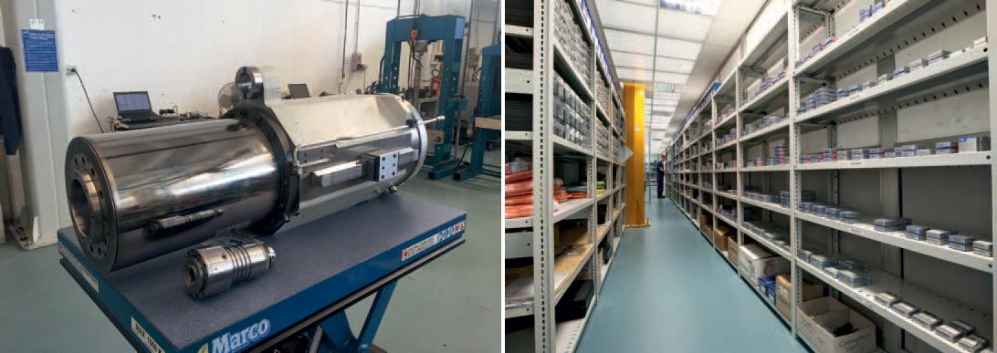 Un elettromandrino da tornio con una velocità pari a 3.600 giri/min sul quale sono stati eseguiti dei lavori e uno scorcio del magazzino | SMZ Italia
