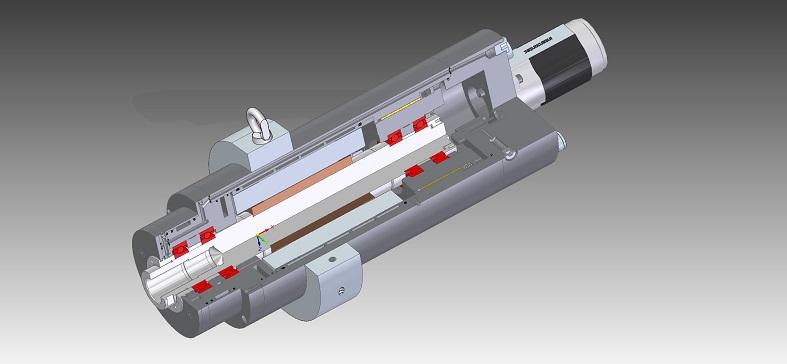 Spaccato in 3D di un elettromandrino per rettifica